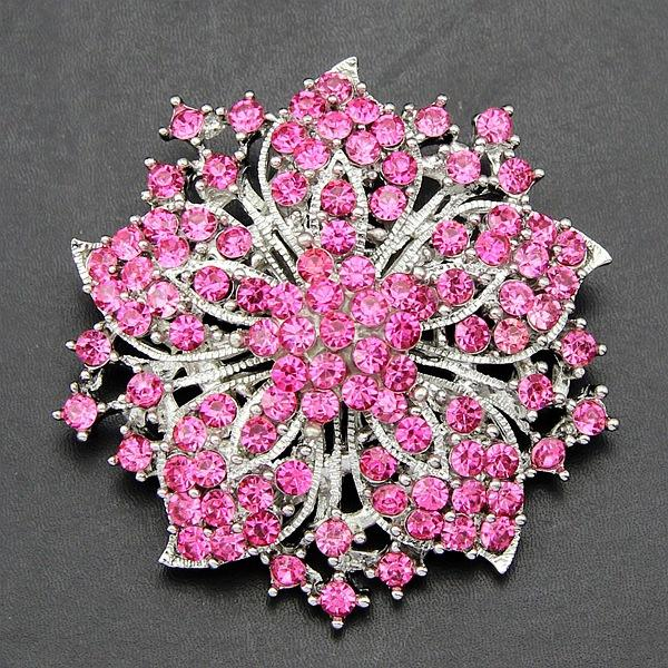 2017 wholesale Korean jewelry luxury full diamond gemstone women brooch crystal diamond corsage bauhinia large flower ring pin clothing