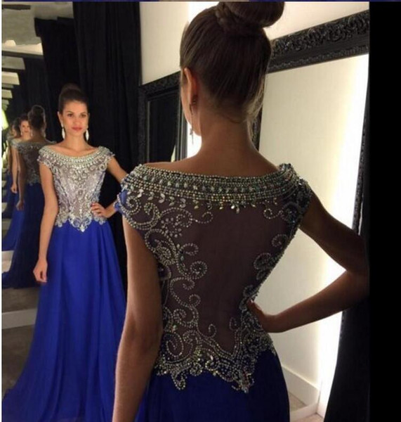 Paillettes in rilievo Sheer Bodice Sexy Royal Blue Prom Dresses 2016 Long Chiffon Girls Party Gowns