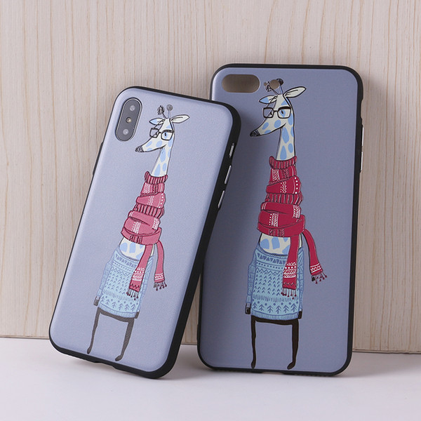 Cute Cartoon Animal Girrafee 3D Relief Painting Case For iPhone 7 7Plus 6 6S 6Plus 5 5S 8 8Plus X