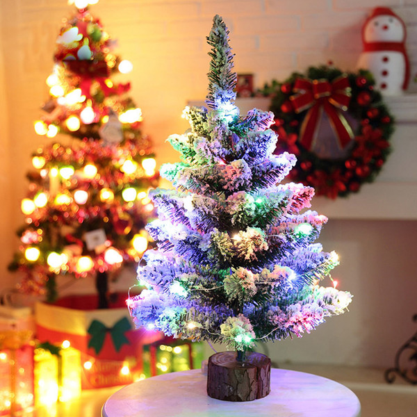Wholesale Artificial Flocking Snow Christmas Tree Led Multicolor Lights Holiday Window Decorations New Nov29 Decorating Your House For Christmas