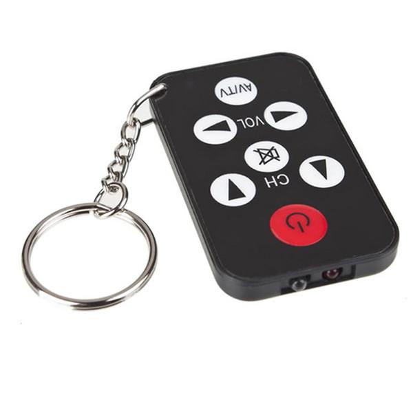 Wholesale 100PCS Mini Universal Infrared IR TV Set Remote Control Keychain Key Ring 7 Keys Television Controller Free DHL