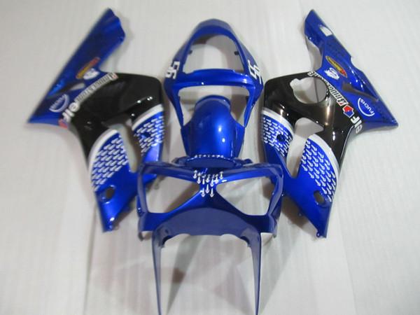 Motosiklet 100% fit Kawasaki ninja ZX6R 03 04 mavi siyah enjeksiyon kalıp fairing seti zx6r 2003 2004 OT40