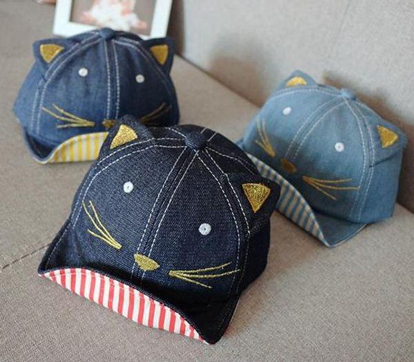 Nuevos Niños Denim Sunhat Niños Cartoon Cat Peaked Cap Niños Sombrero Gorras Niños Niños Niñas Cartoon Gorra de béisbol Casual Hiphop Hats Ball Cap