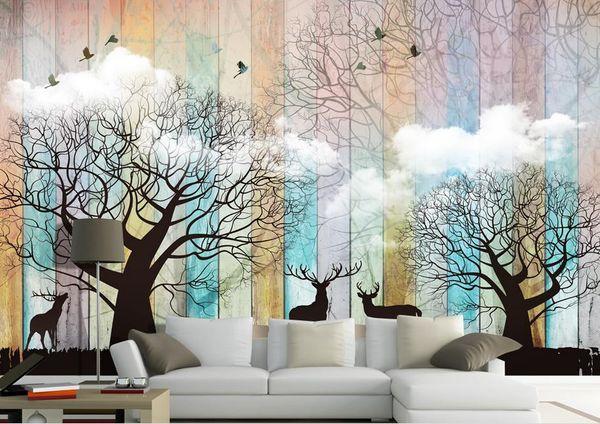 Custom wallpaper for walls 3 d photo mural Forest elk board 3d stereoscopic wallpapers for living room