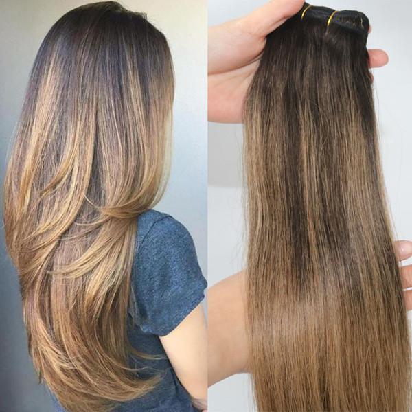 2 6 Human Hair Extensions Balayage Highlights Dark Brown Human Hair Weave Bundles Brazilian Virgin Hair Thick End 100gram One Set Cheap Brazilian