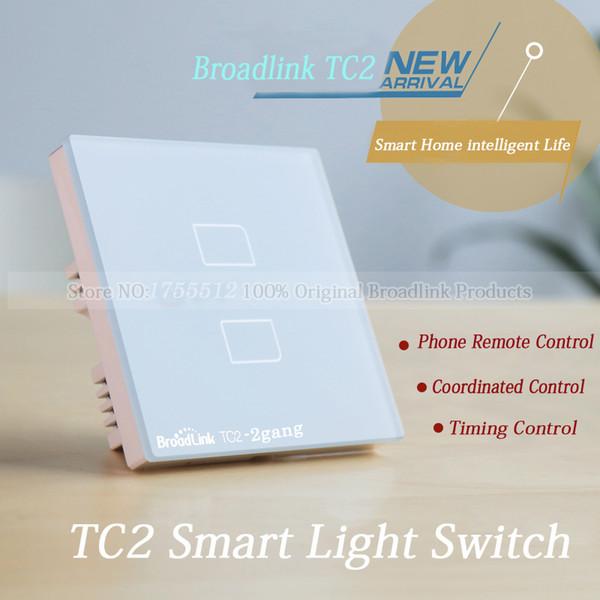 Wholesale-EU Standard Broadlink TC2 2 gang Smart Switch,Network Wireless Remote Control Wall WiFi Light Touch Screen Smart Home Switch