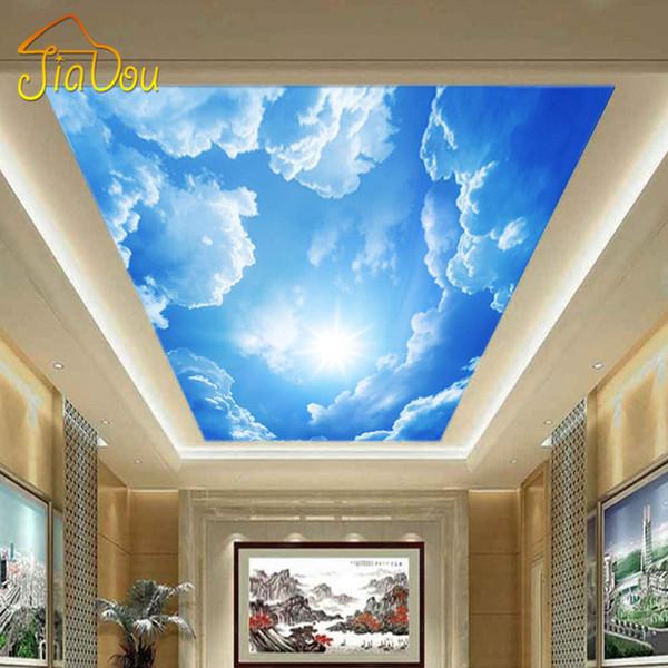 Großhandels-Moderne 3D Fototapete Blauer Himmel und weiße Wolken Wand Papiere Home Interior Decor Wohnzimmer Decke Lobby Wandbild Tapete