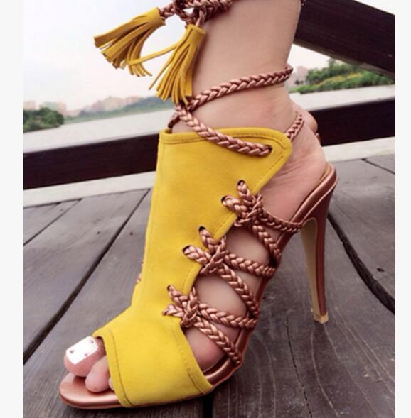 Peep Compre Tacón Gladiador Botas Para Mujer Sandalias Altos Con Verano Fiesta Moda Cordones 2017 Tacones Toe De Zapatos Aguja b7fY6gy