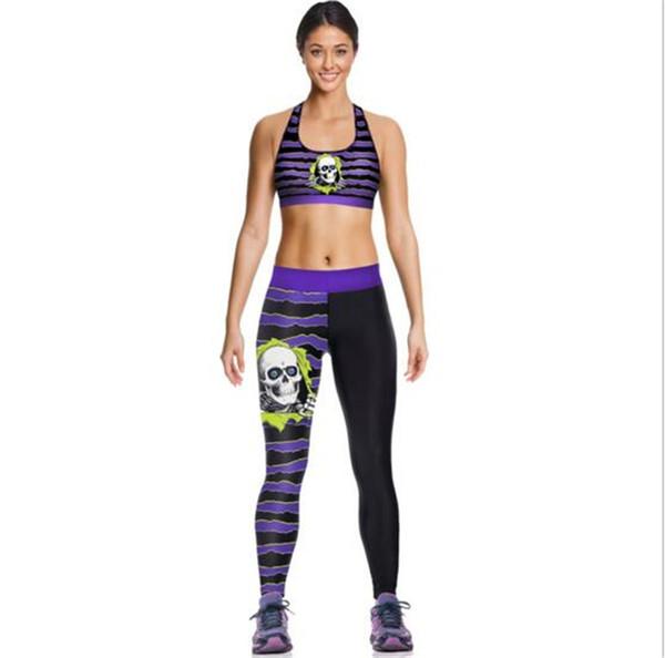 Kadınlar Siyah Kafatasları Kombinezonlar Moda Tankları Gömlek Koşu Atlet Yelek Mor Gym Spor Tankı Üstleri Dijital Baskı Kolsuz A065