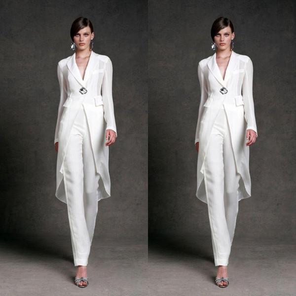 Elegant Mother Of Bride Dresses With Jacket For Wedding V Neck Mother's Formal Pants Suit Long Sleeve Beads Formal Prom Evening Dress