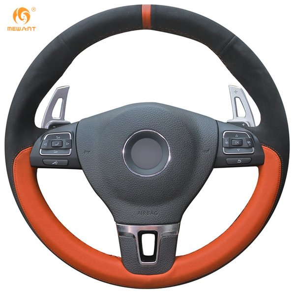 Mewant Black Suede Orange Leather Car Steering Wheel Cover for Volkswagen VW Gol Tiguan Passat B7 Passat Magotan CC Touran