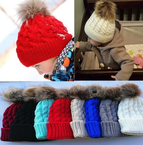 INS Inverno Chapéu Do Bebê Recém-nascidos Meninas Bonito Bola De Peles Tampas Crianças Inverno De Malha De Lã Chapéus para meninos gorros cor sólida