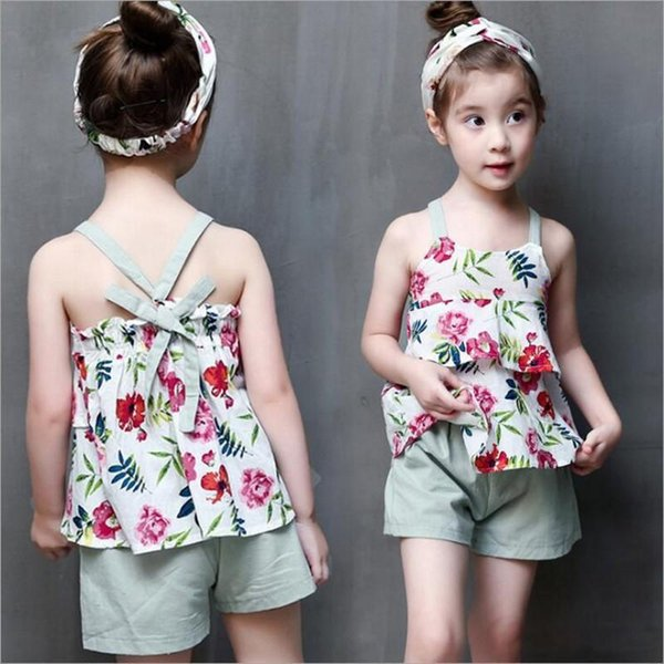 2017 Summer Fashion Baby Girls Clothes Children Outfits Cotton Camisole Little Floral Tops + Pants 2pcs Sets Kids Clothing
