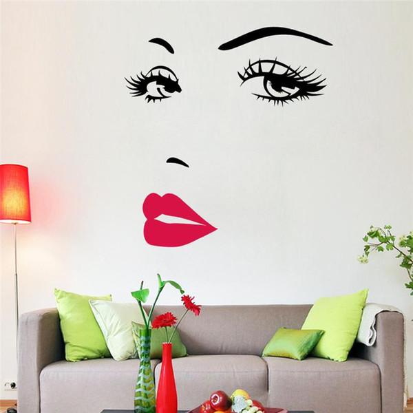 Wholesale- sexy girl lip eyes wall stickers living bedroom decoration zooyoo8469 diy vinyl adesivo de paredes home decals mual art poster