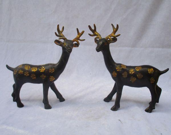Art Collection 1 Paire de statues de cerf Sika / sculpture en bronze doré ancien en bronze doré