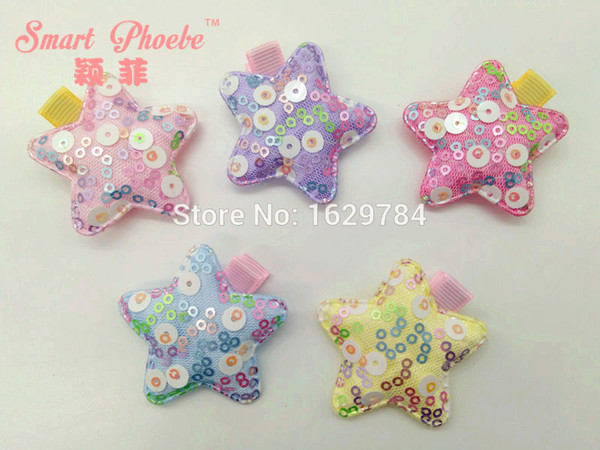 Wholesale Boutique 30pcs Fashion Glitter Cute Sequin Star Hairpins Kawaii Candy Color Star Baby Girls Hair Clips Hair Accessories Headware