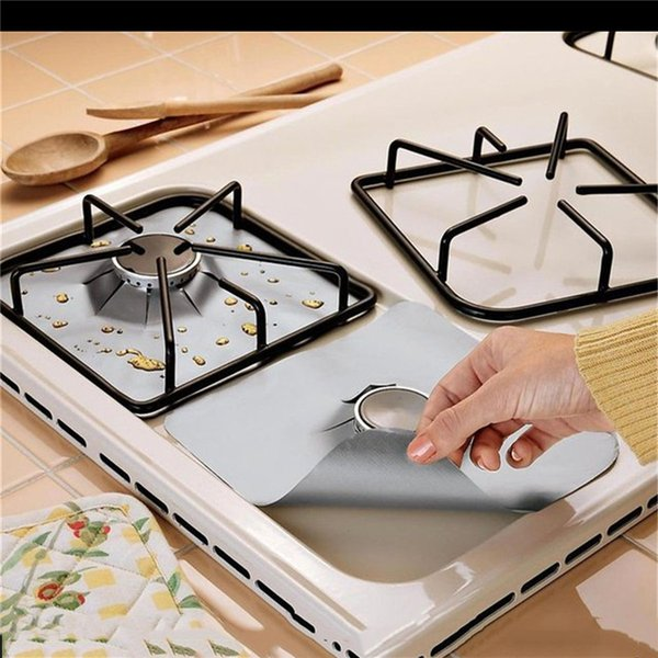 Wholesale- 8 pcs/lot reusable glass fiber mat easy keep clean for gas stove burner cover covers protection mat kitchen tools accessories