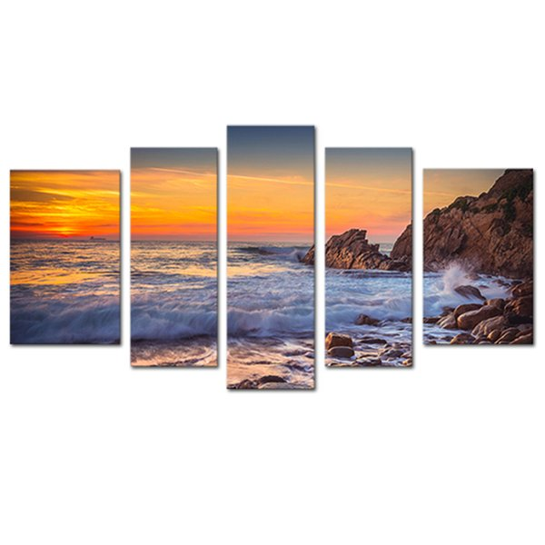 5 Panels Seascape Canvas Painting Wall Art Sunset Sea View Painting Print on Canvas with Wooden Framed Artwork for Home Decor