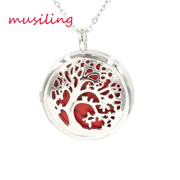 Life Tree Locket Pendants Necklace Natural Stone Openwork Pendant Lapis Lazuli Rose Quartz etc Stone Bead Charms Fashion Jewelry for Women