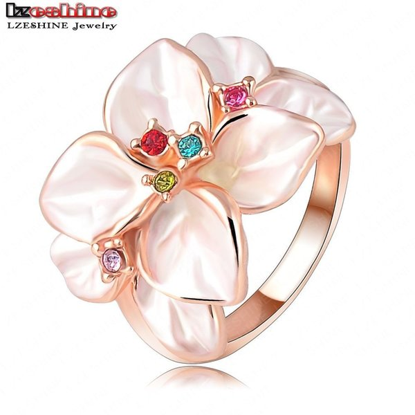 LZESHINE Christmas Big Sale Jewelry Ring Rose Gold Plated Austrian Crystal White Enamel Flower Ring for Women anillos Ri-HQ1006
