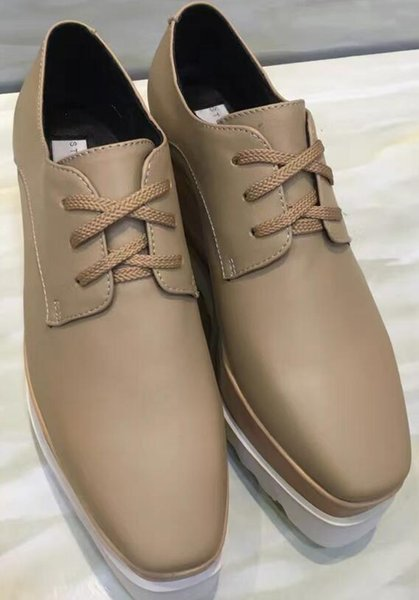 5e870400014 Stella Mccartney Elyse Nude Genuine Leather Lace Up White Outsole Derby On  Sale