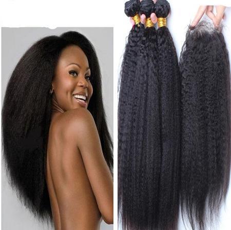 8A Brazilian Kinky Straight Hair With Closure,Afro Kinky Straight Human Hair Weave Bundles With Top Lace Closure Coarse Italian Yaki