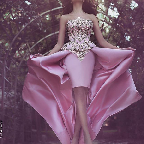 Pink Hi Lo Gold Sequin Formal Evening Dresses Arabic Starpless Robe ...