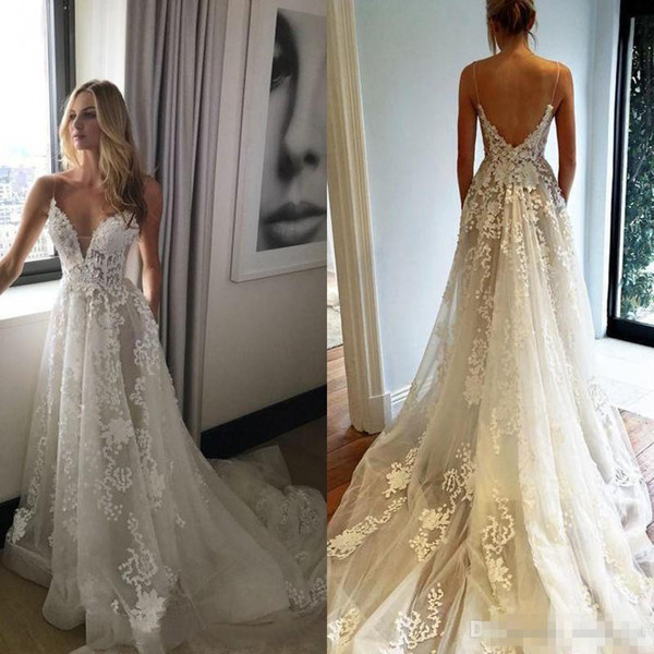Milla Nova 2017 Summer Lace Bohemian Beach Wedding Dresses V Neck Backless Floor Long Custom Made Plus Size Boho Bridal Gown For Garden