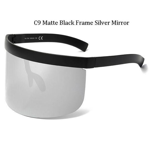 C9 Matte Black Frame Miroir Argenté