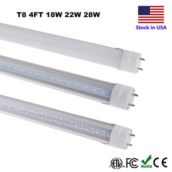 T8 LED Rohr Beleuchtung 4FT 4 Fuß 18W 22W 28W SMD 2835 Leuchtstofflampe 6500K Cool White T8 Rohr führen 22W