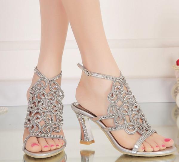 718c023c3 women wedding bridal shoes silver rhinestone crystal sandals woman  slingback ankle strap hoof strange heel pumps