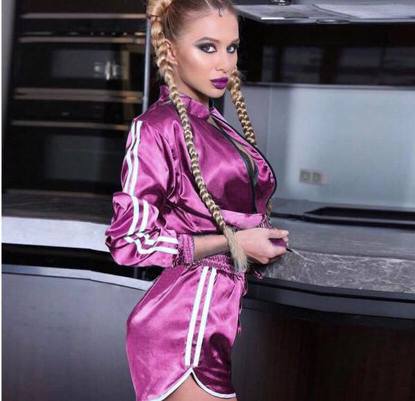 Pembe Kadınlar Saten Ipek iki parçalı set Bombacı Ceket Şort Set Sportsuit Tops Moda Eşofman Kadın conjunto moleton feminino