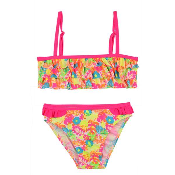 Baby Girl Bikini Swimsuits Children Swimwear Summer Bathing Set Falbala Cake layer Flower Pattern Kids Biquini Infant Split Swimsuit