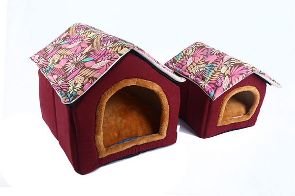 House Shape Dog Bed Puppy Soft Comfortable Home Detachable Nest Dog kennels For Small Medium Dogs Travel Free Shipping