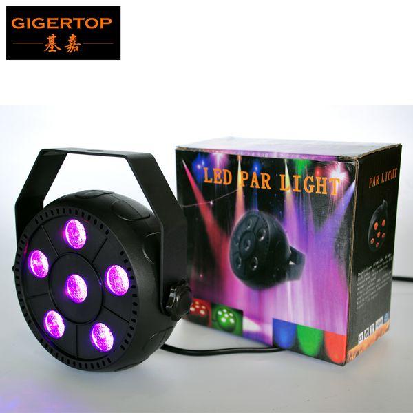 Gigertop TP-P12 Pumpkin Flat RGB Plastic Led Par Light 6x1W Red/Green/Blue Mini Slim Par Cans Auto/Sound Active Switch CE ROHS