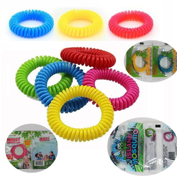 top popular Newest Mosquito Repellent Bracelet Stretchable Elastic Coil Spiral hand Wrist Band telephone Ring Chain Anti-mosquito bracelet I012 2019