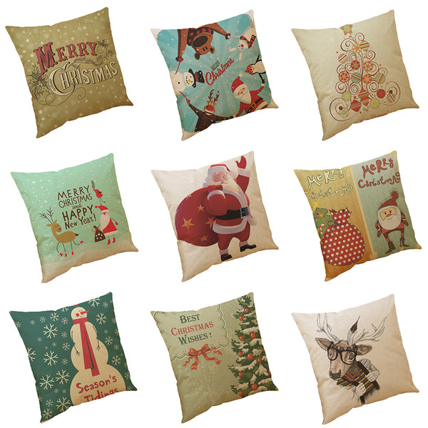 Best Christmas Wishes Printed Linen Cushion Cover Home Office Sofa Square Pillow Case Decorative Cushion Covers Pillowcases Without Insert
