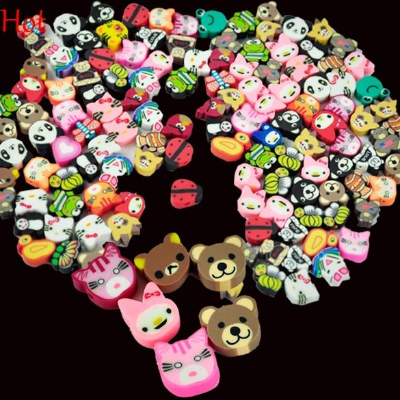 100PCS Nail Art 3D Fruit Animal Flower Nail Decoration Candy Mixed Designs Tiny Fimo Slices Polymer Clay Nail Sticker Decal With Hole 5584