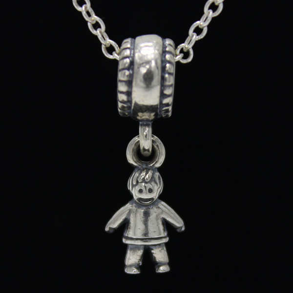 Dangle Boy Dangle Charm DIY Beads Real Solid 925 Sterling Silver Not Plated Fits Original Pandora Bracelets & Bangles & Necklaces