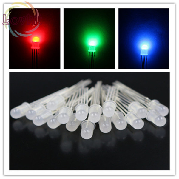 Wholesale- 20pcs High Quality 5mm Diffused COMMON Anode RGB LED Red Green Blue 4Pins Tri Color Emitting Diodes F5 RGB Diffused LEDs LIGHT