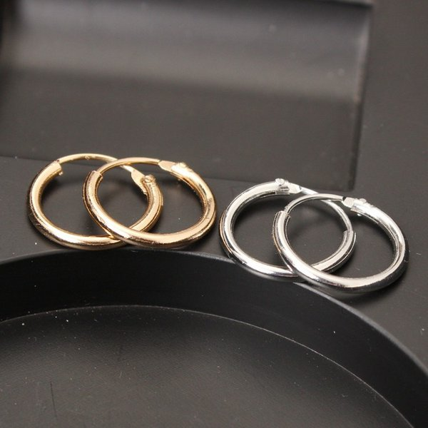 best selling Dia 12MM New Fashion simple circle earring The circle ear ring earrings stud circle hoop silver and gold color wholesale free shipping