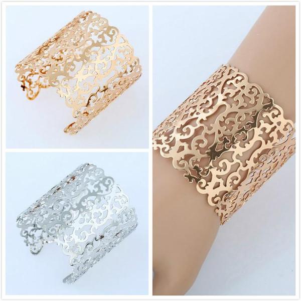 Handmade Wide Lace Bangle Bracelets For Womens Open Gold /Silver Tone Geometrical Floral Pattern Womens Cuff Bracelets