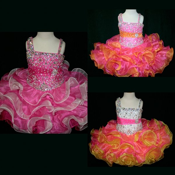 Multi Color Girls Cupcake Pageant Dresses 2017 Little Rosie with Tiered Skirt and Bling Bling Bodice Two Tones Toddler Party Dress