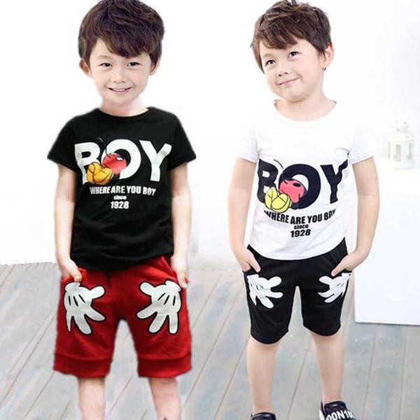 2017 Niños Bebés de Verano Ropa Deportiva para Niños Pequeños Conjunto de Dibujos Animados para Niños Camisetas + Pantalones Cortos 2 Unids Ropa Conjuntos de Chándal 2 -6 Años