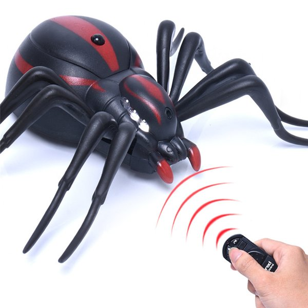 FREE DHL Funny Joke Simulation Infrared RC Remote Control Scary Black widow spider Toys Halloween Gift For Children Boy Adult