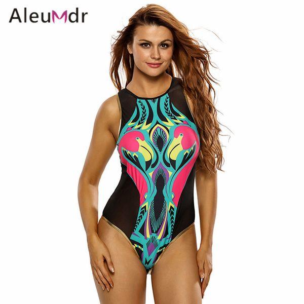 Aleumdr Black Mesh Colorful Print Back Zip Womens Monokini One Piece Swimsuit Bathing Suit survetement femme Swimwear New 2017