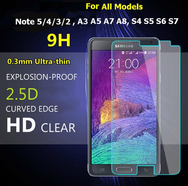 Temizle 0.3mm Temperli Cam Samsung Not için 4/5/3/2 S3 S4 S5 S6 S7 Samsung A3 A5 A7 A8 G530 J2 J3 J5 J7 G530 Ekran Koruyucu