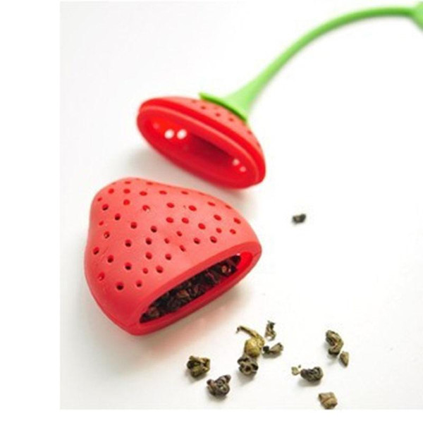 best selling Strawberry shape silicon tea infuser strainer silicon tea filler bag ball dipper
