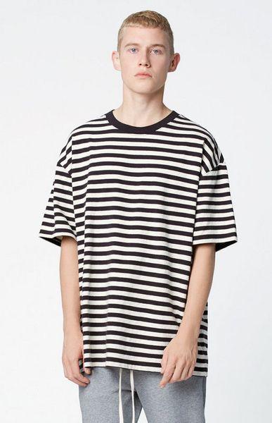 streetwear fashion men clothes 2017 urban brand clothing fog striped tshirts korean hip hop extended oversized t shirt