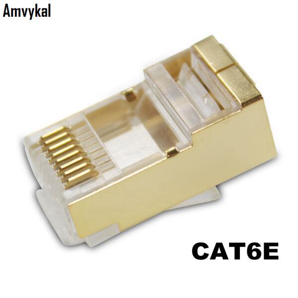 best selling 1000pcs lot Top Quality Gold RJ45 RJ-45 CAT6E Lan Cable Modular Plug Network Adapter CAT6 8P8C Modular Plug Ethernet Connector